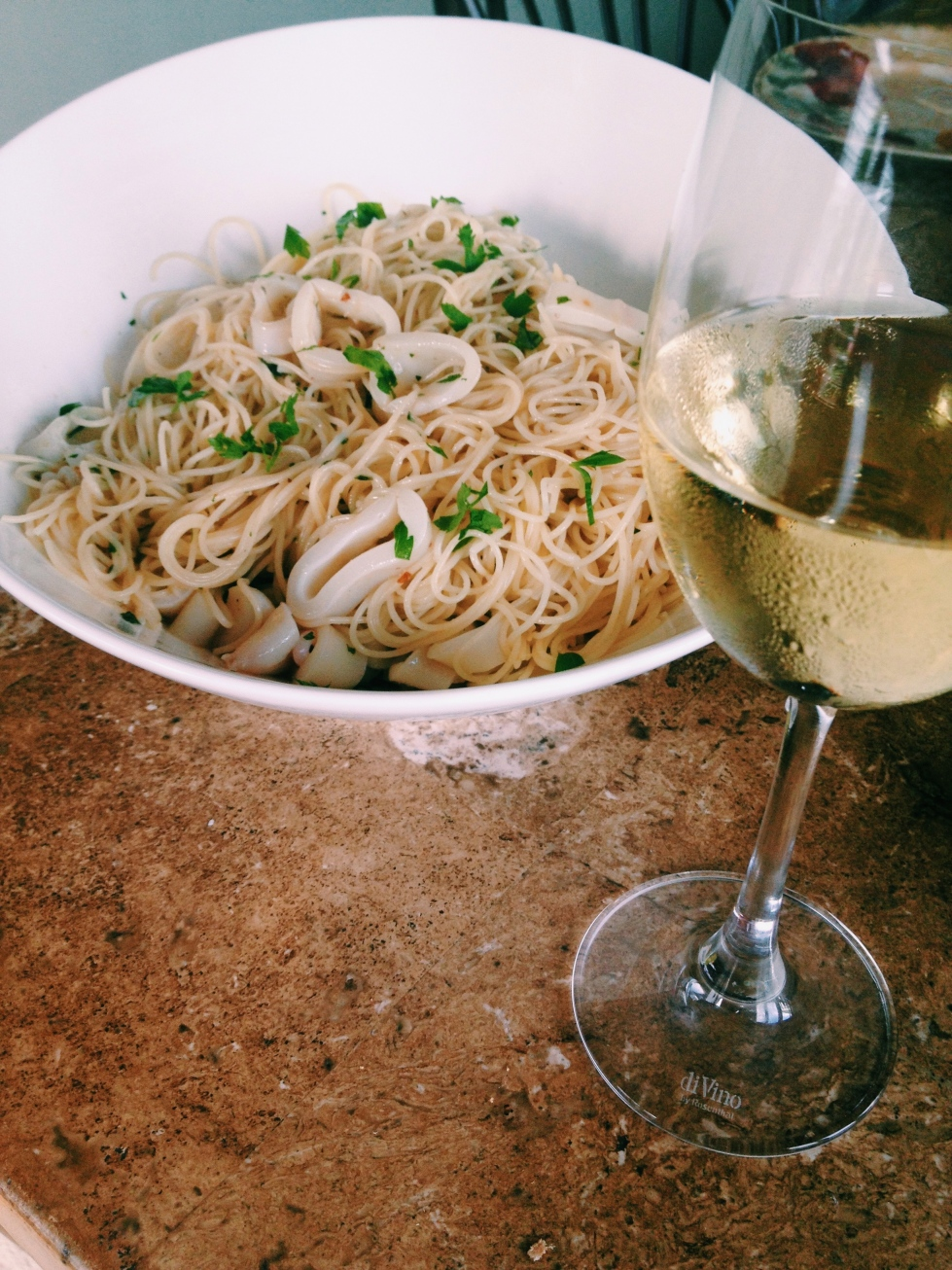Chilled Chardonnay Braised Calamari Pasta