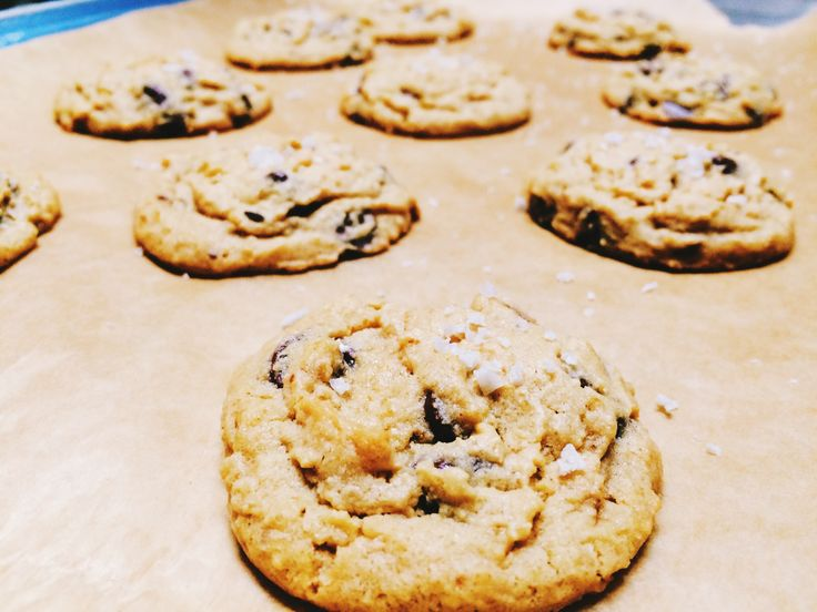 Salted PB Chocolate Chip Cookies