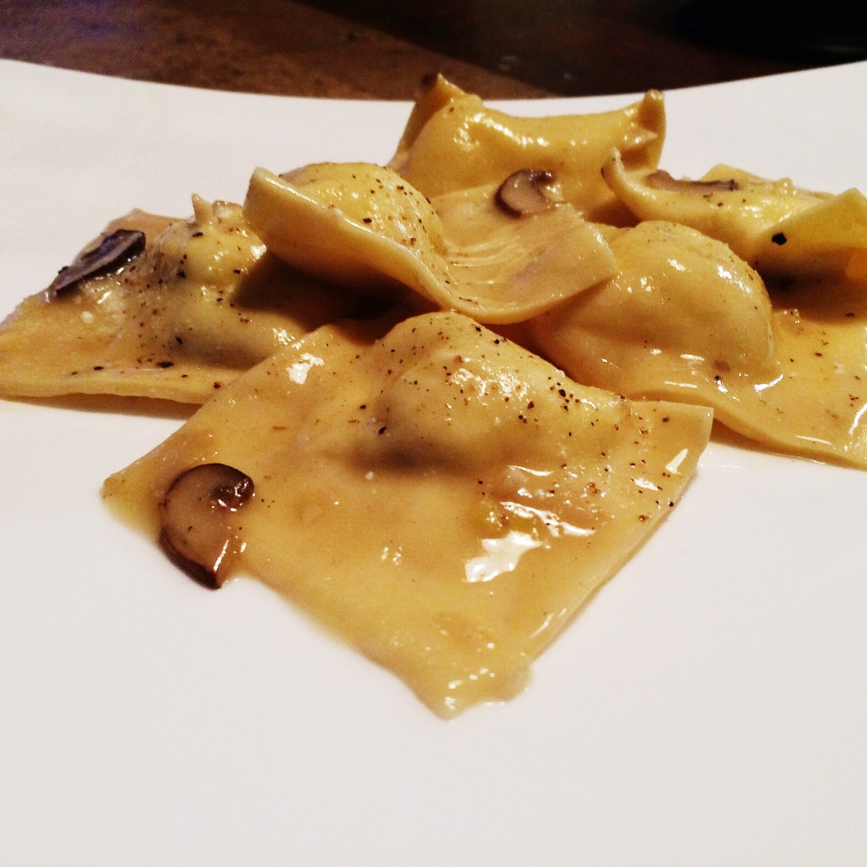 Goat Cheese Ravioli with White Wine Sauce