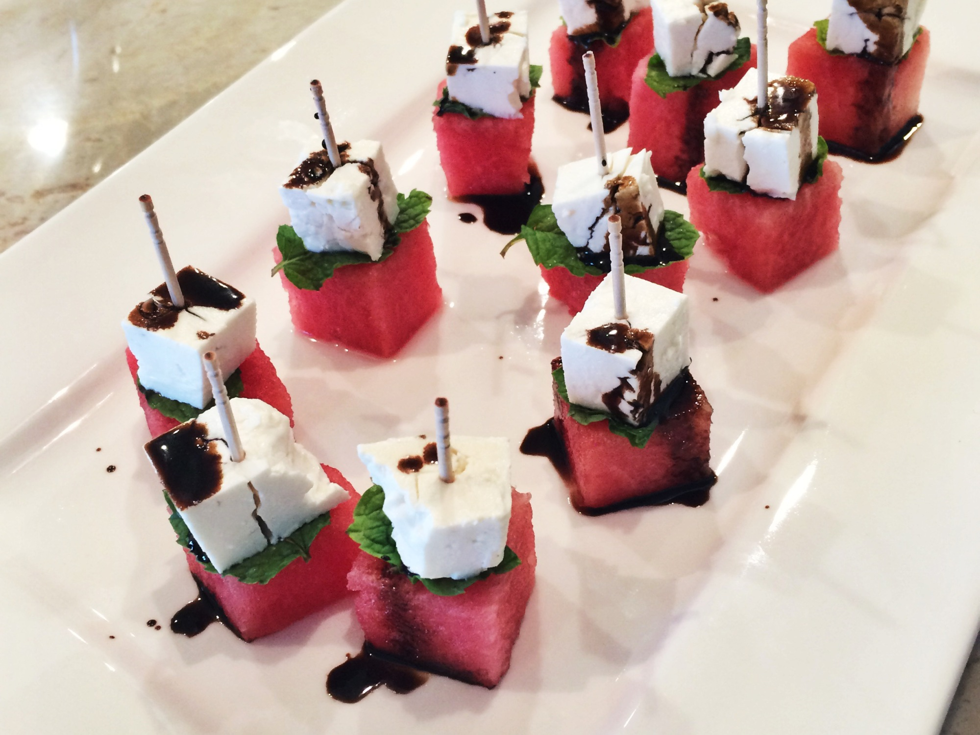 Watermelon, Feta, Mint Bites with Balsamic Drizzle