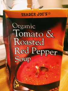Trader Joe's Roasted Red Pepper Soup made with Jalepenos, sriracha, garlic, and lentils. A quick, comforting, and savory weeknight dinner.