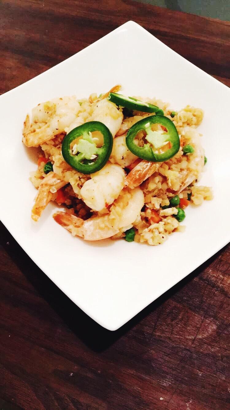 Paleo Shrimp 'Fried Rice' Cauliflower