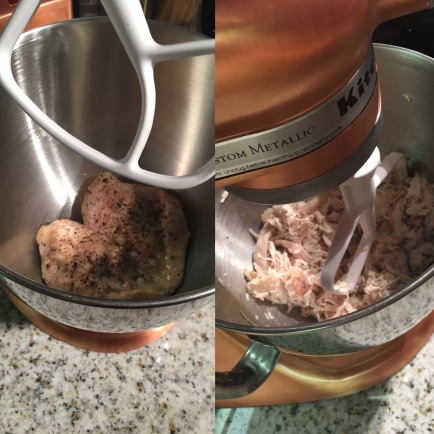 Time saver! Shred your chicken easily in a Kitchenaid Mixer within 30 seconds!s