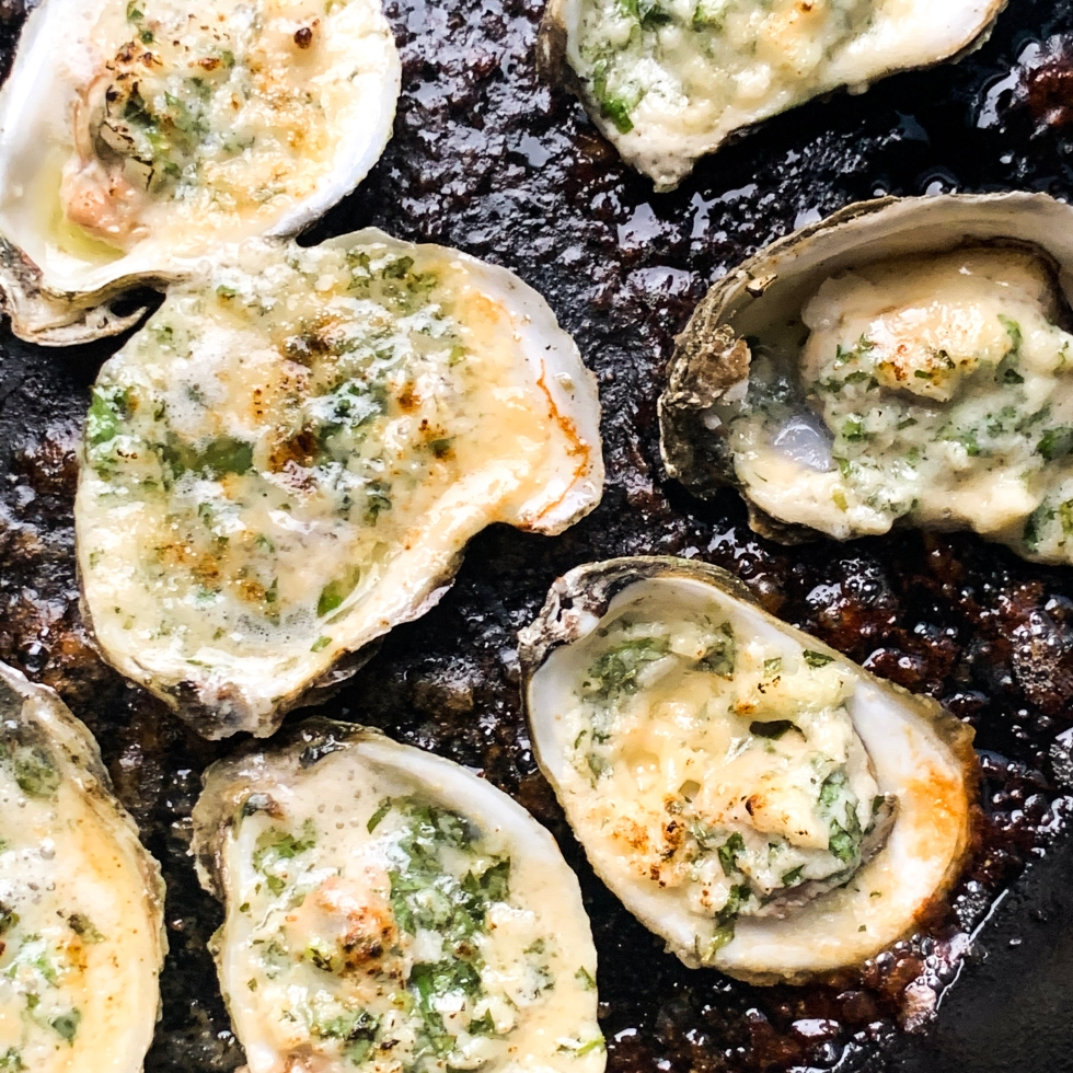 Grilled Garlic Parm Oysters