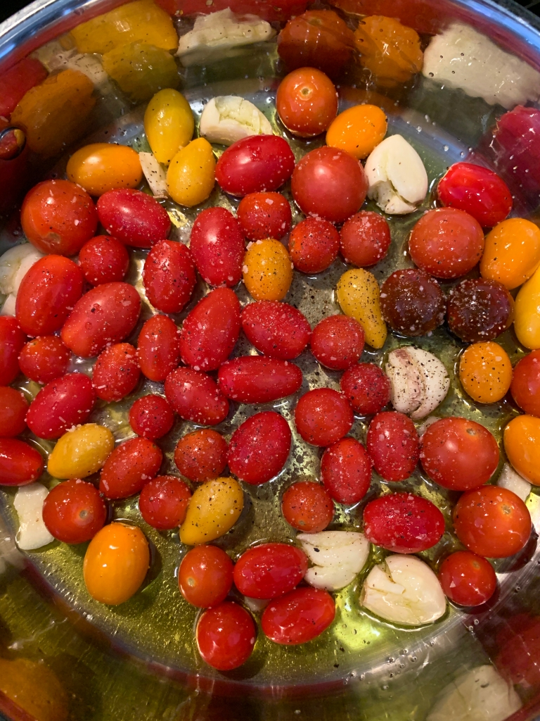 cherry tomatoes, garlic, evoo